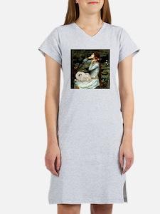 Ophelia & her white Peke (#1) Women's Nightshi