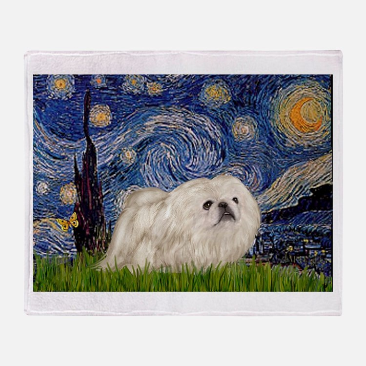Starry Night white Peke Throw Blanket