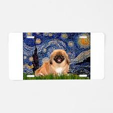 Starry Night Pekingese Aluminum License Plate