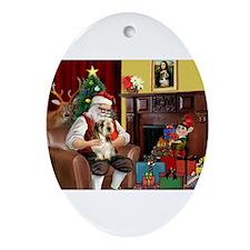 Santa's Petit Basset Ornament (Oval)