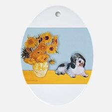 Sunflowers/ Petit Basset #8 Ornament (Oval)