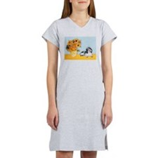 Sunflowers/ Petit Basset #8 Women's Nightshirt