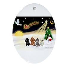 Night Flight/4 Poodles Ornament (Oval)