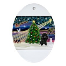 Xmas Magic-Black Poodle Ornament (Oval)