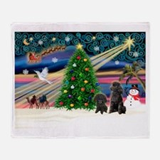 Xmas Magic & Poodle Throw Blanket