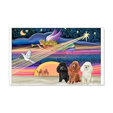Xmas Star & Poodle trio 22x14 Wall Peel