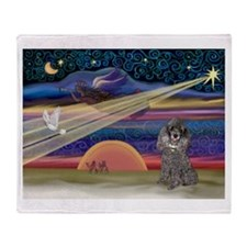 Xmas Star Silver Poodle Throw Blanket