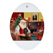 Santa's Black Poodle Ornament (Oval)