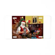 Santa's Silver Toy Poodle Aluminum License Plate