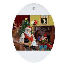 Santa's Poodle Trio Ornament (Oval)