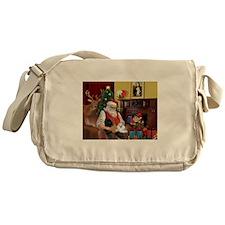 Santa's Poodle Trio Messenger Bag