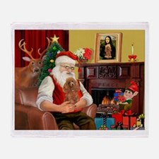 Santa's Toy Poodle (a) Throw Blanket