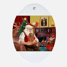 Santa's Toy Poodle (a) Ornament (Oval)