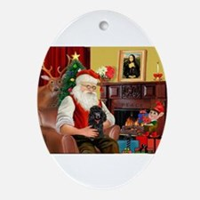 Santa Min Poodle (b) Ornament (Oval)