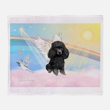 Angel /Poodle (blk Toy/Min) Throw Blanket