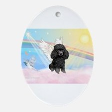 Angel /Poodle (blk Toy/Min) Ornament (Oval)