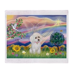 Cloud Angel & White Poodle Throw Blanket