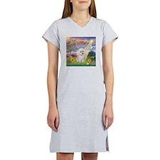 Cloud Angel & White Poodle Women's Nightshirt