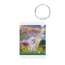 Cloud Angel & White Poodle Keychains