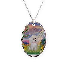 Cloud Angel & White Poodle Necklace