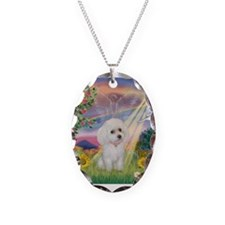 Cloud Angel & White Poodle Necklace Oval Charm