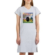 Cloud Angel & Poodle #17 Women's Nightshirt