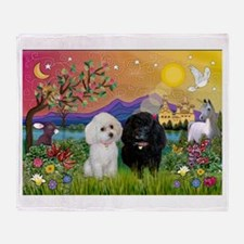 Fantasy Land & 2 Poodles Throw Blanket
