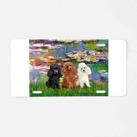 Lilies #2/3 Poodles Aluminum License Plate
