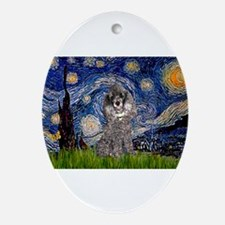 Starry Night Silver Poodle Ornament (Oval)