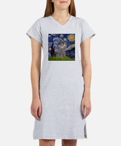 Starry Night Silver Poodle Women's Nightshirt