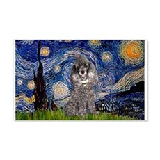 Starry Night Silver Poodle 22x14 Wall Peel