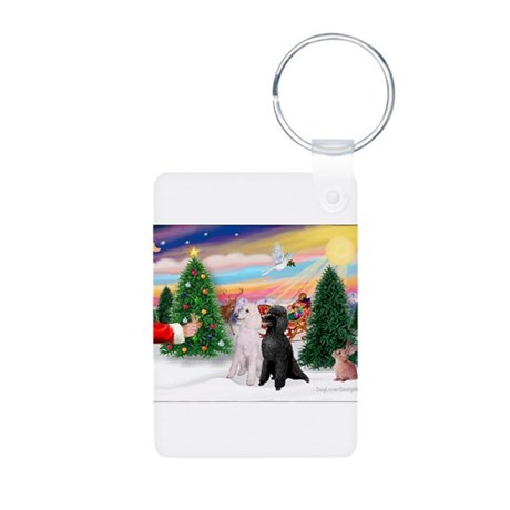 Treat/Two Poodles (ST) Aluminum Photo Keychain
