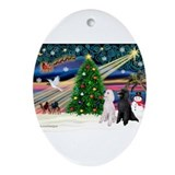 White poodle dogs Oval Ornaments