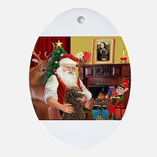 Santa's Std Poodle(c) Ornament (Oval)