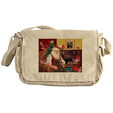Santa's Std Poodle(c) Messenger Bag