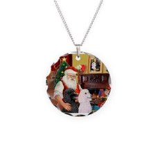 Santa's 2 Std Poodles Necklace