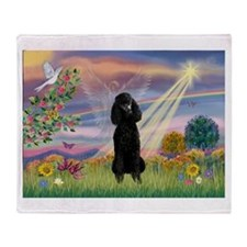 Cloud Angel Black Poodle (ST) Throw Blanket