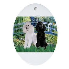 Bridge & Poodle Pair Ornament (Oval)
