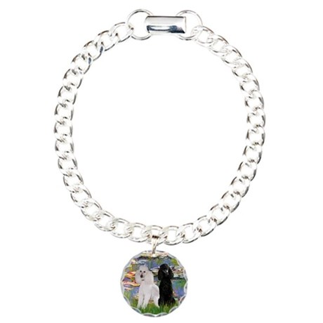 3 Poodles in Lilies Charm Bracelet, One Charm