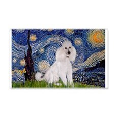 Starry Night White Poodle (ST 22x14 Wall Peel