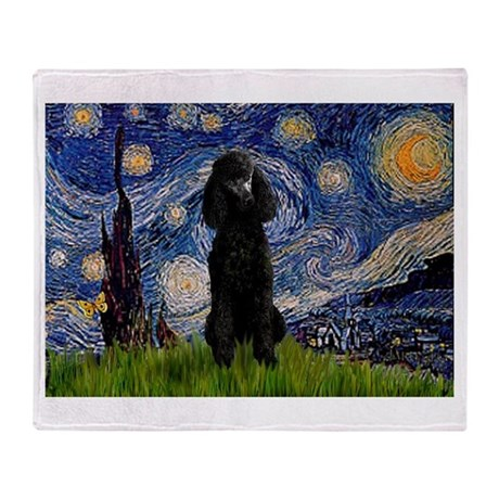 Starry Night Black Poodle (ST Throw Blanket