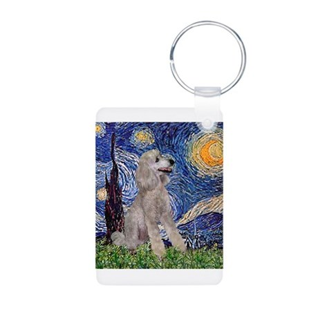 Starry Night Silver Poodle (S Aluminum Photo Keych