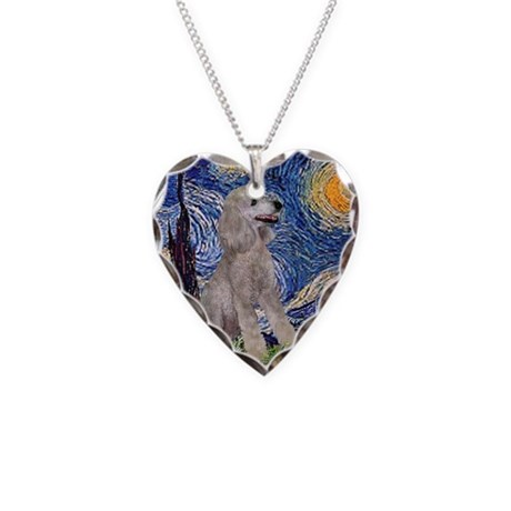 Starry Night Silver Poodle (S Necklace Heart Charm