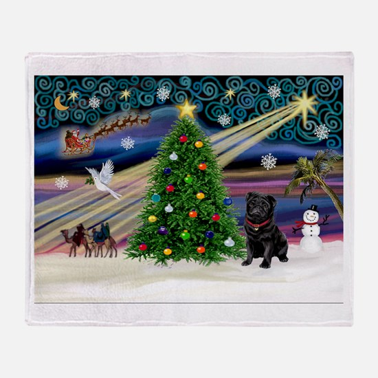 Xmas Magic & Black Pug Throw Blanket