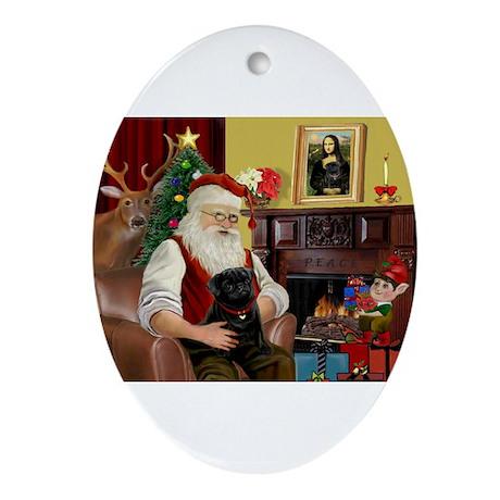 Santa's Black Pug Ornament (Oval)