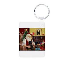 Santa's Black Pug Keychains