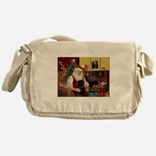 Santa's Black Pug Messenger Bag