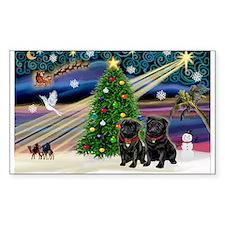 Xmas Magic & 2 Black Pugs Decal