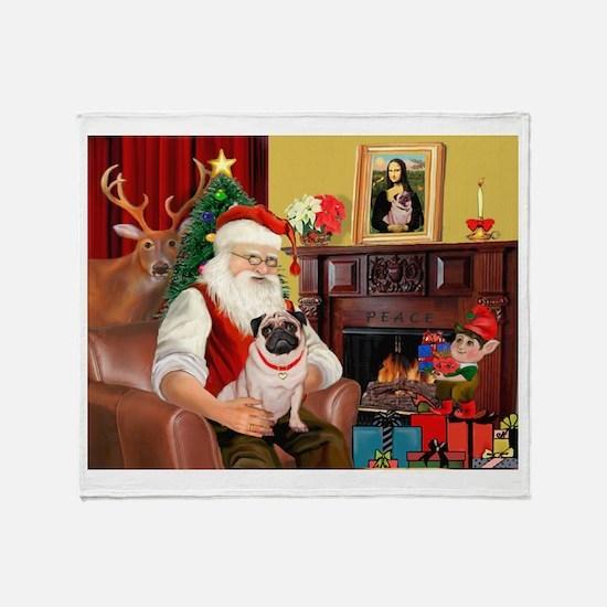 Santa's fawn Pug (#21) Throw Blanket
