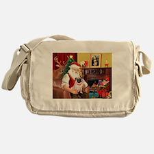 Santa's fawn Pug (#21) Messenger Bag